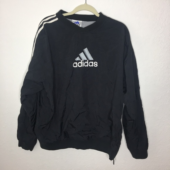 1990s Vintage Adidas Black Pullover Windbreaker L